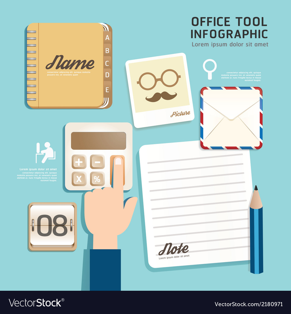 Infographic flat design icons office tool concept vector | Price: 1 Credit (USD $1)