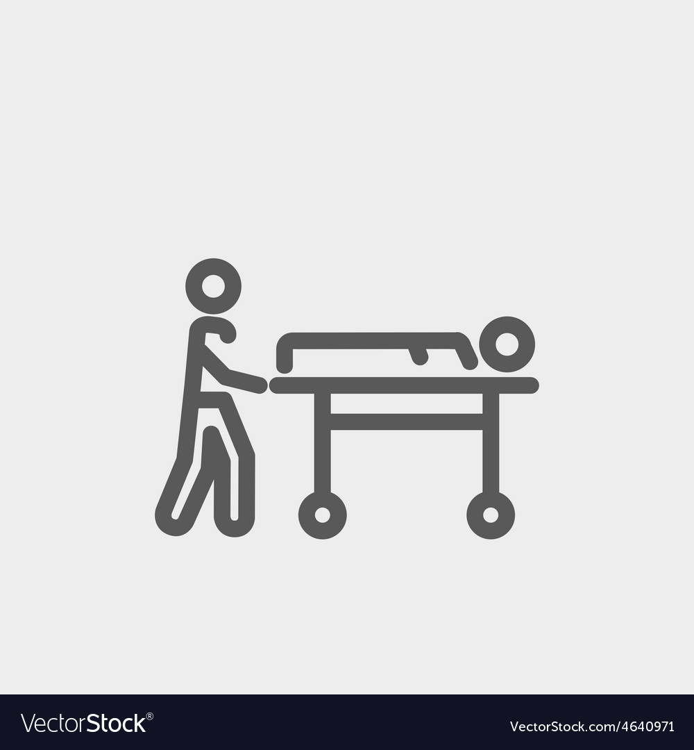 Man pushing the stretcher with sick person thin vector | Price: 1 Credit (USD $1)