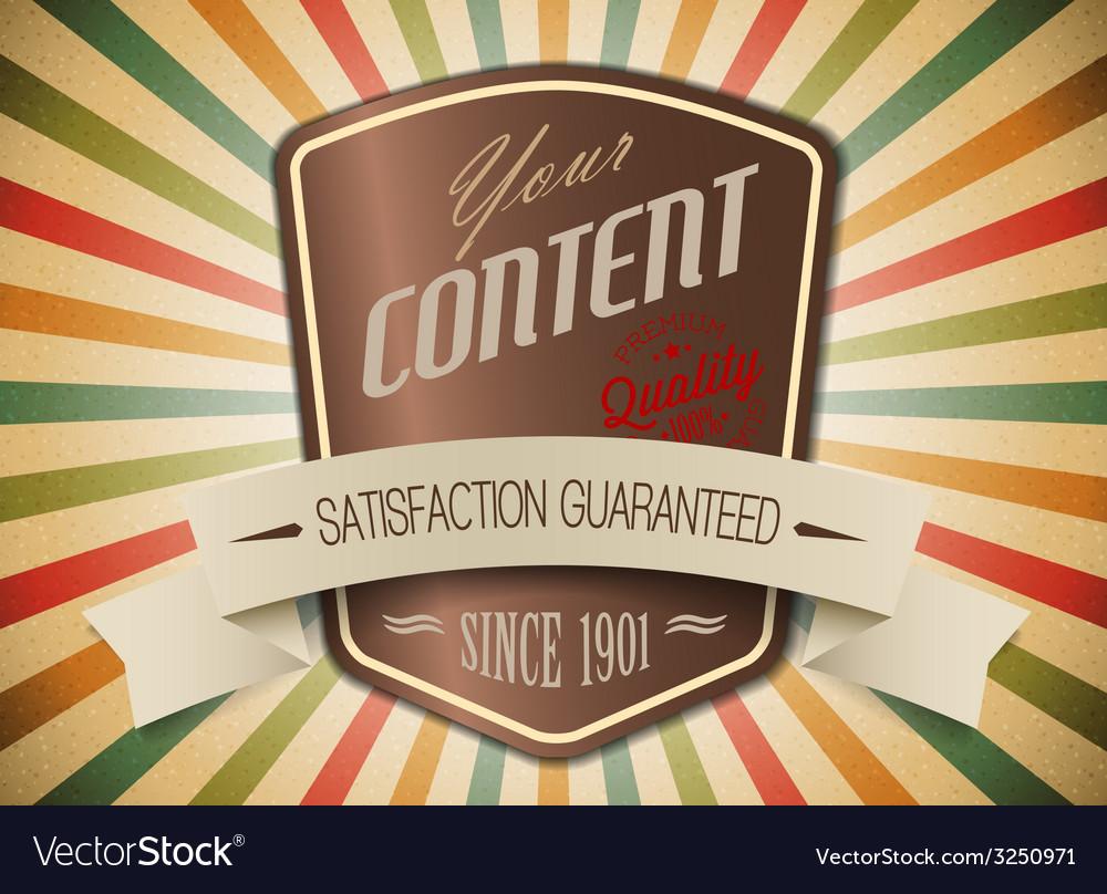 Old shield retro vintage label vector   Price: 1 Credit (USD $1)