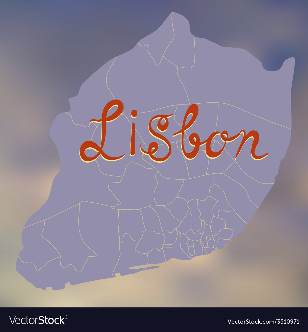 Stylized decorative map of lisbon on a blurry vector | Price: 1 Credit (USD $1)