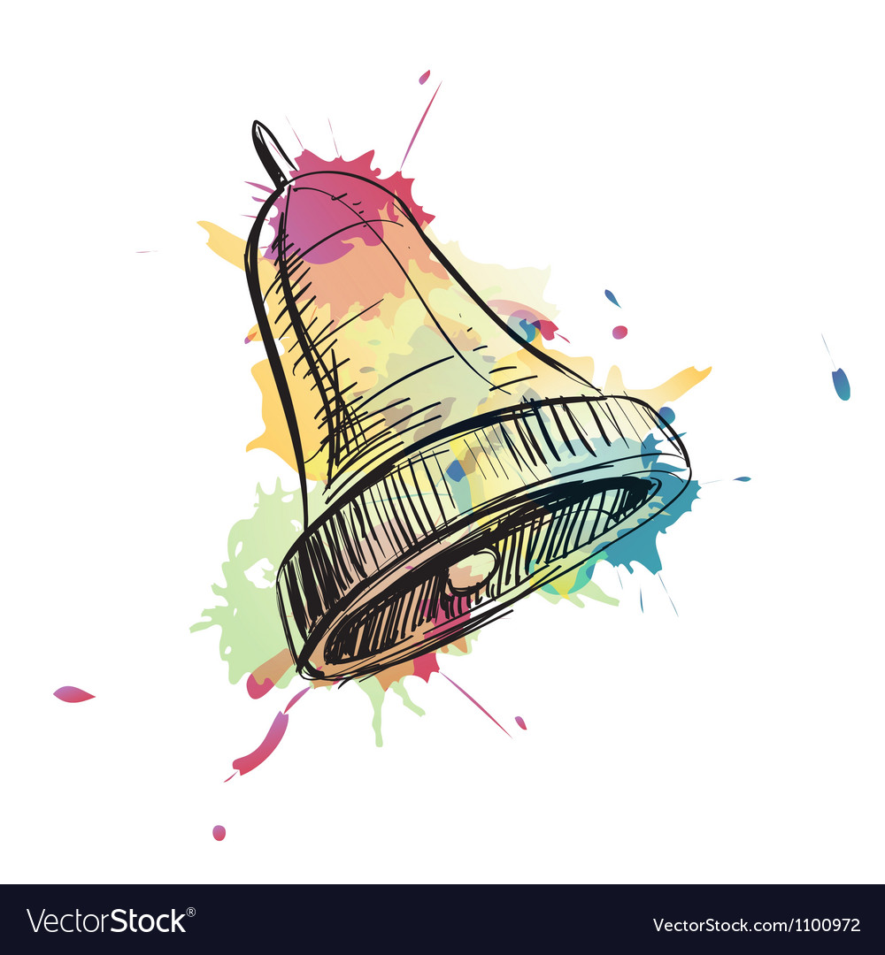 Bell ring watercolor sketch vector | Price: 1 Credit (USD $1)
