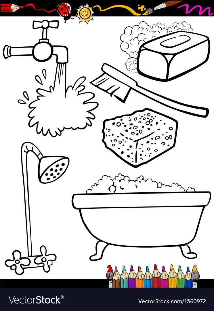 Cartoon hygiene objects coloring page vector | Price: 1 Credit (USD $1)