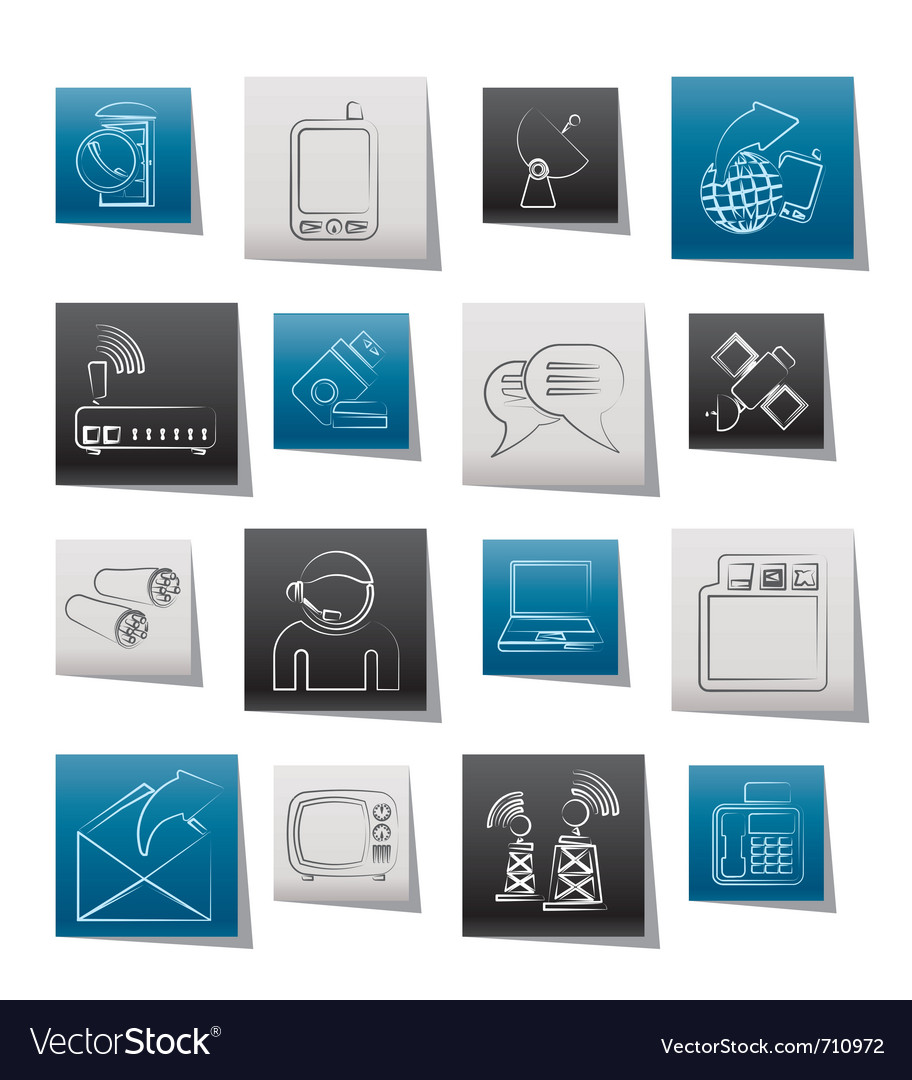 Communication and technology icons vector | Price: 1 Credit (USD $1)