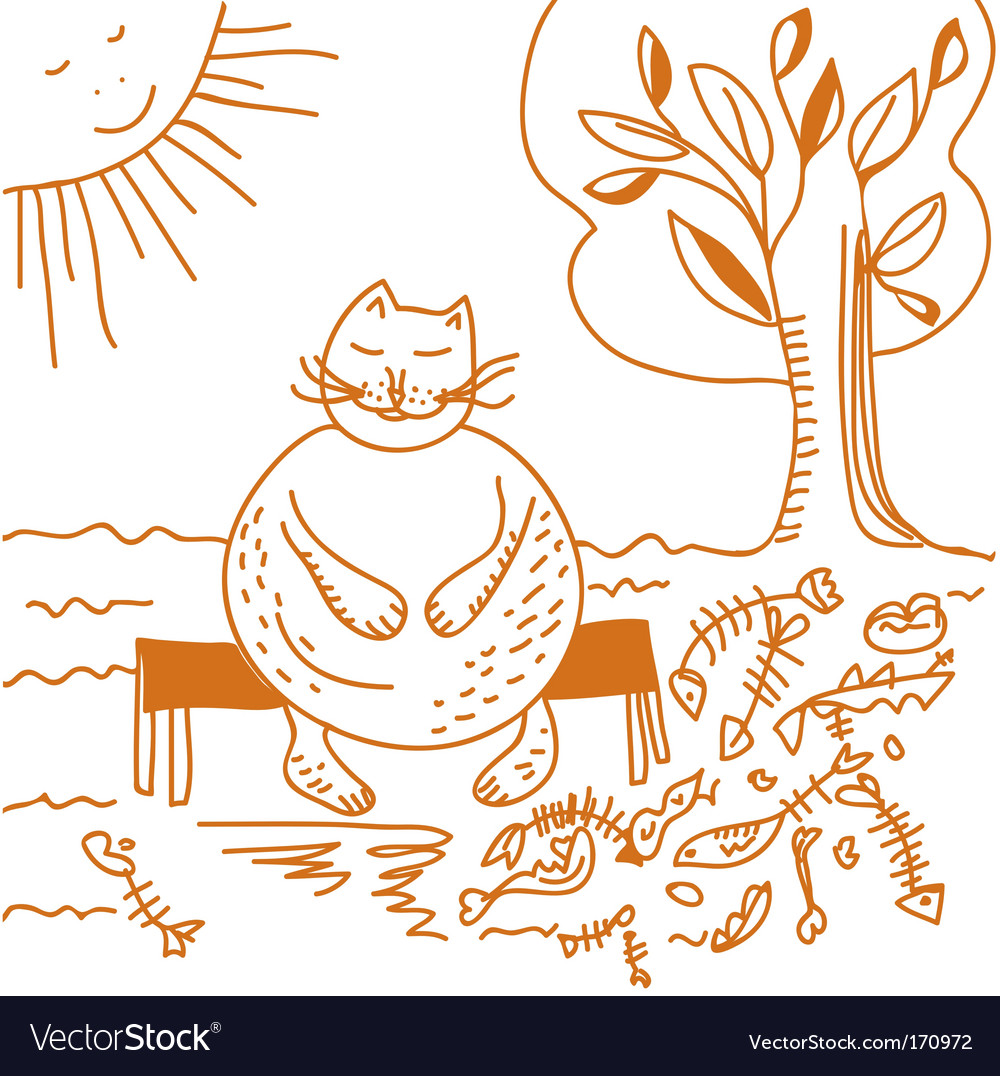 Fat cat after dinner cartoon vector | Price: 1 Credit (USD $1)