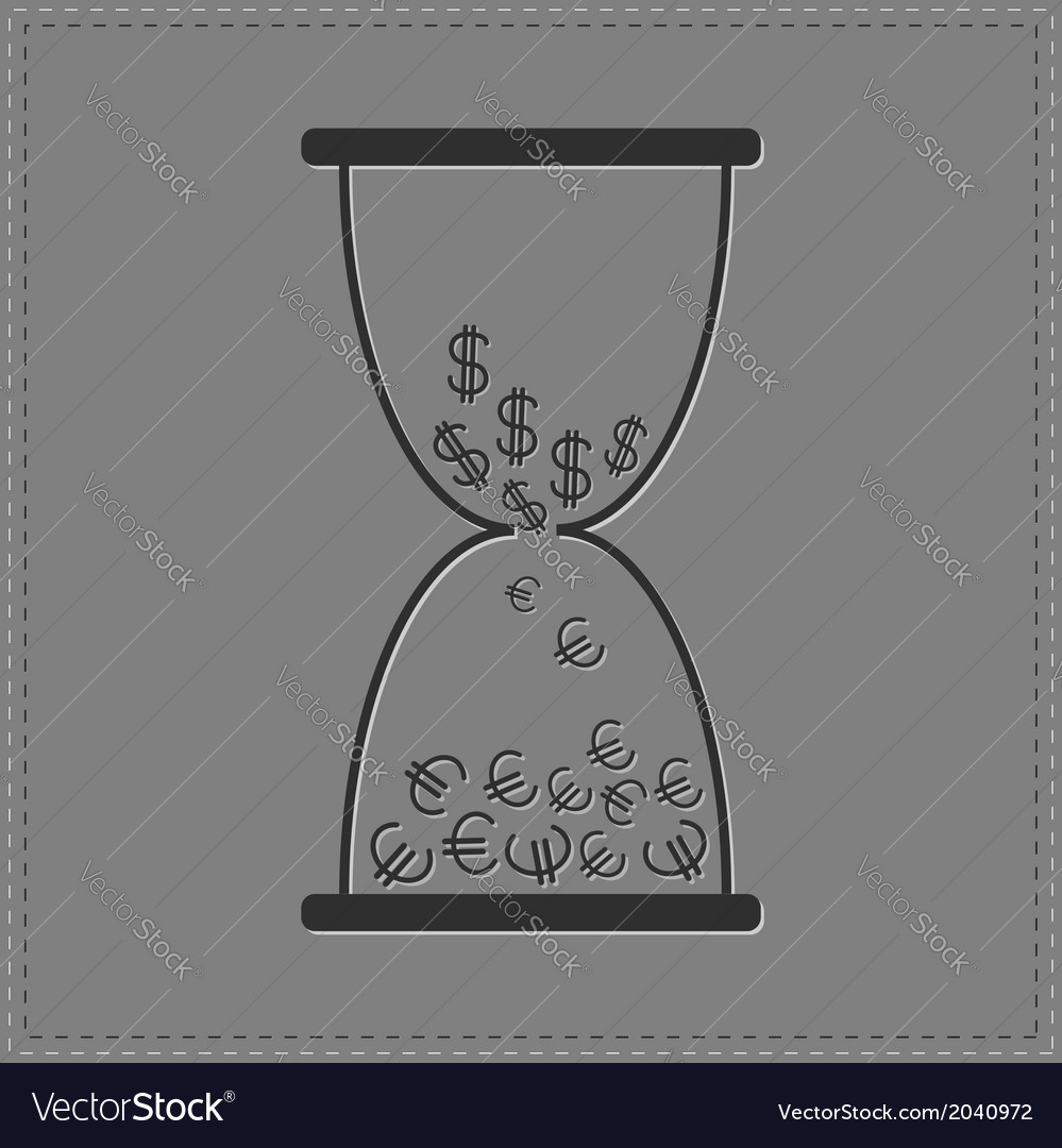 Grey hourglass with dollar and euro money signs vector | Price: 1 Credit (USD $1)