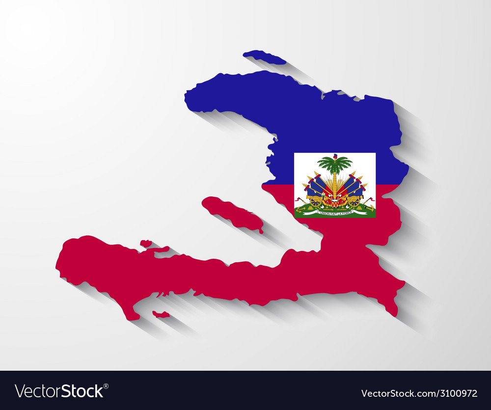Haiti country map with shadow effect vector | Price: 1 Credit (USD $1)