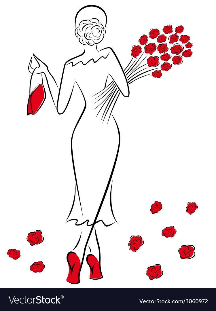Lady with a bouquet of red roses goes away vector | Price: 1 Credit (USD $1)