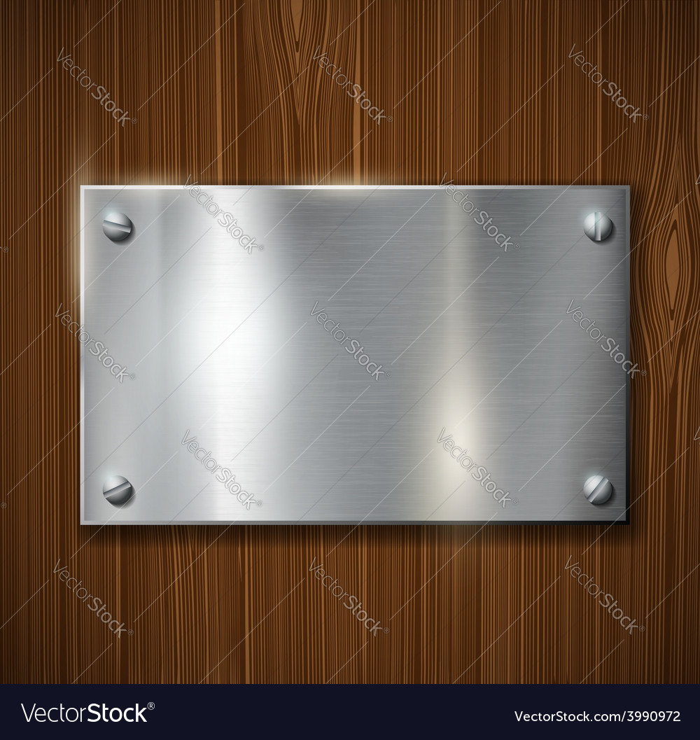 Metal plate on a wooden surface vector | Price: 1 Credit (USD $1)