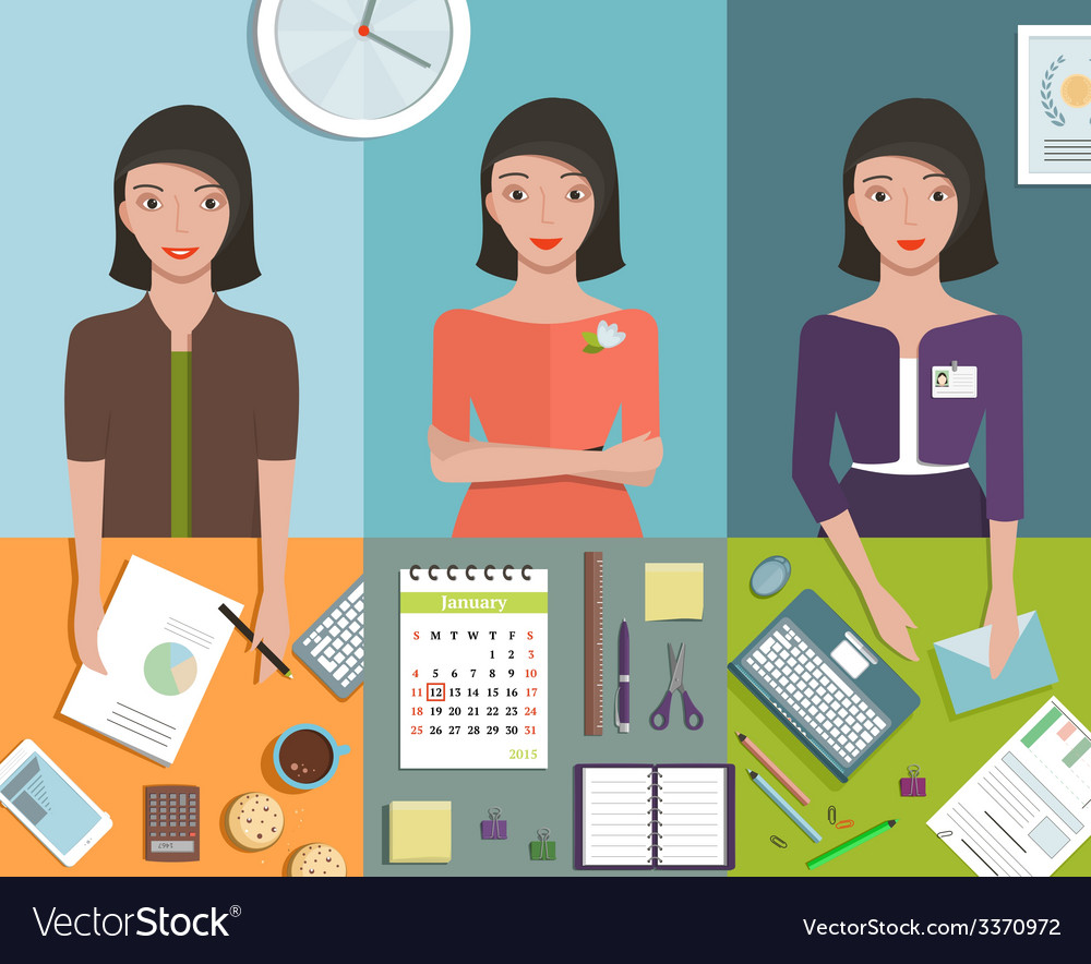 Office manager woman working in different poses vector | Price: 1 Credit (USD $1)