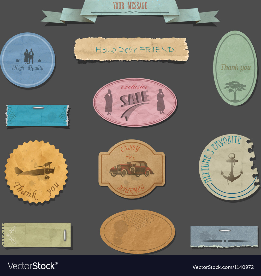 Paper vintage design elements vector | Price: 1 Credit (USD $1)