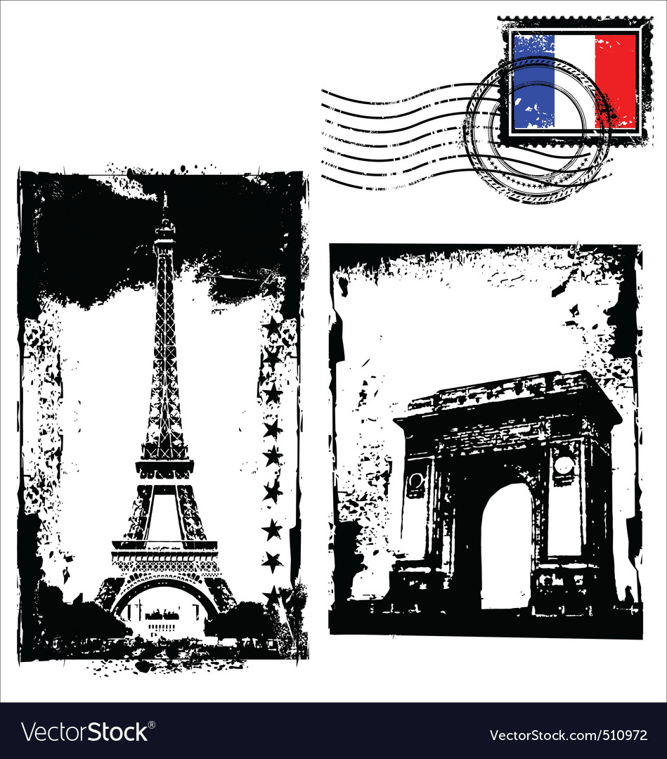 Paris in grunge frame vector | Price: 1 Credit (USD $1)