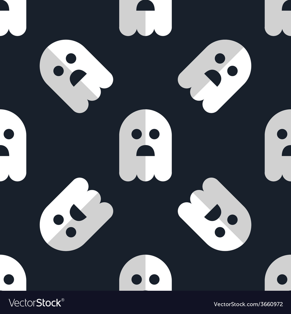 Seamless pattern white ghosts halloween background vector | Price: 1 Credit (USD $1)