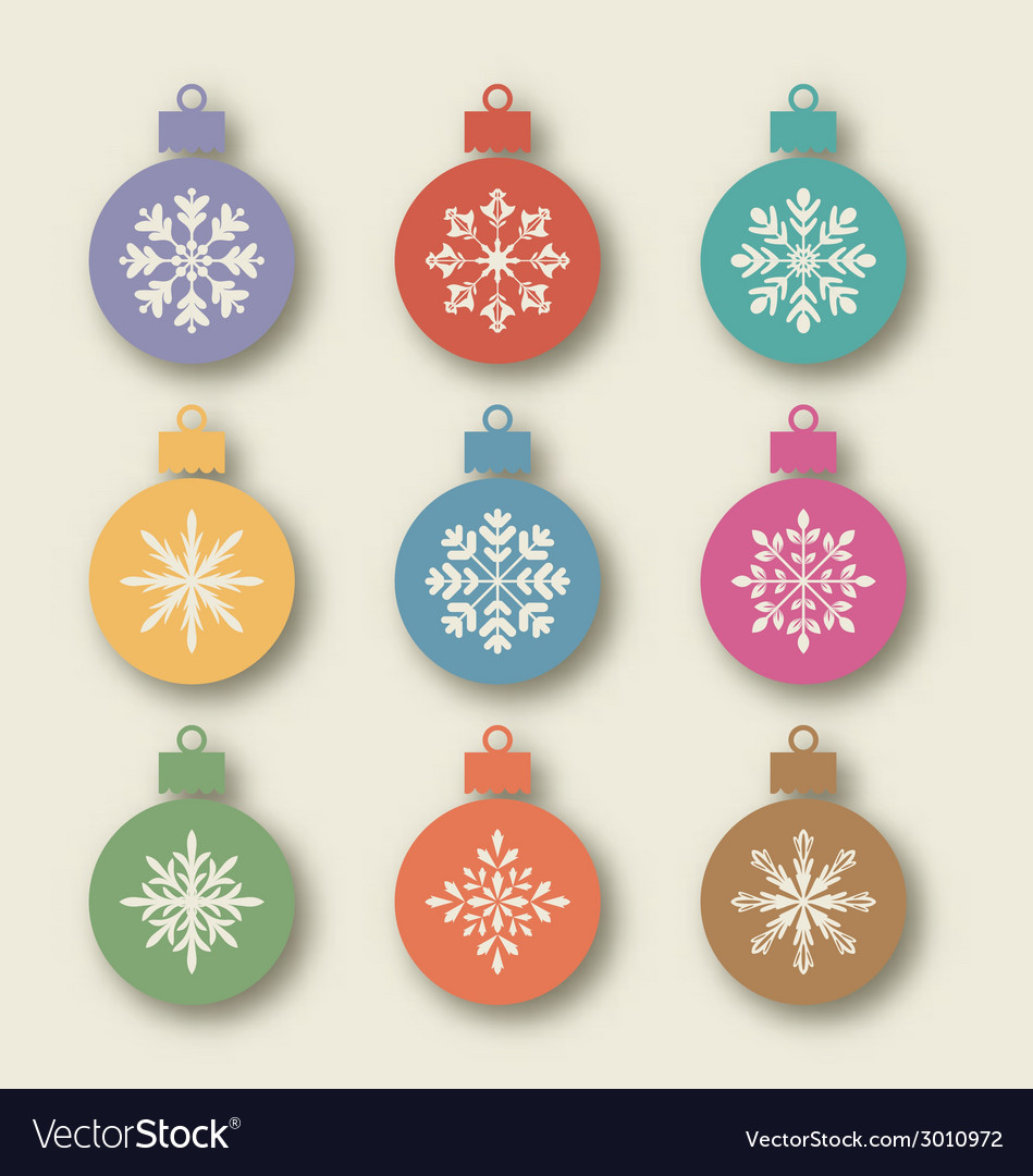 Set christmas balls with different snowflakes vector | Price: 1 Credit (USD $1)