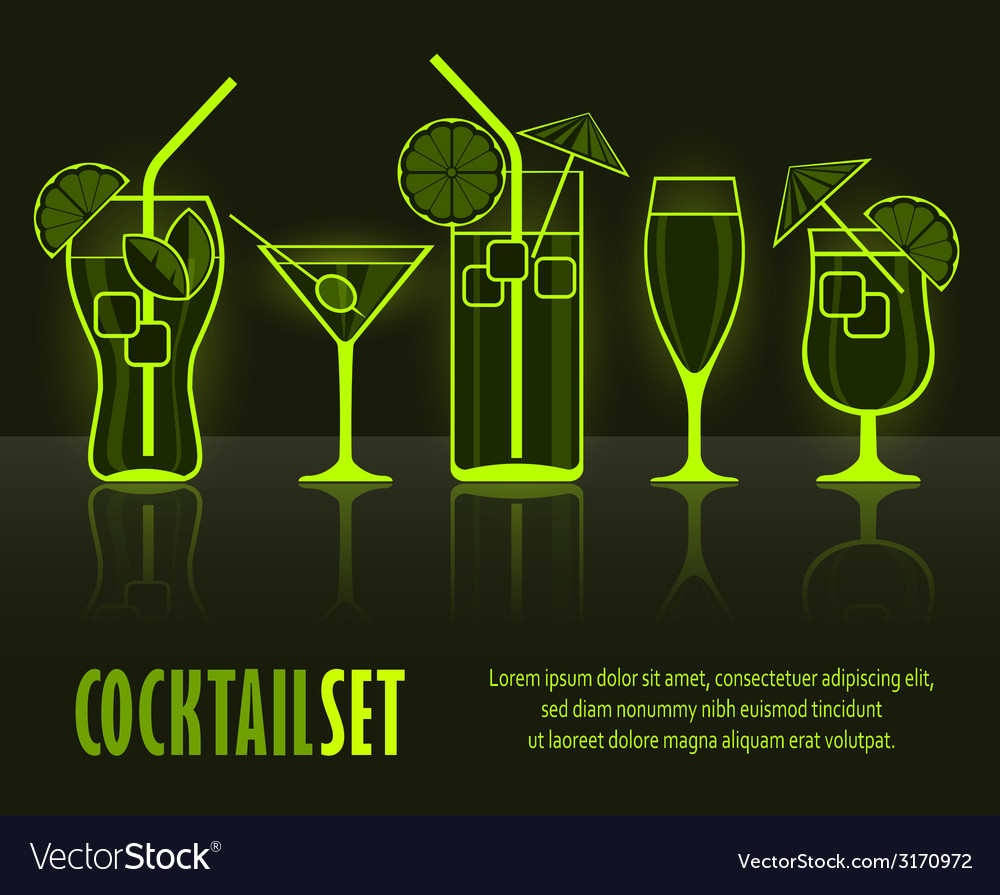 Set of cocktail silhouettes vector | Price: 1 Credit (USD $1)