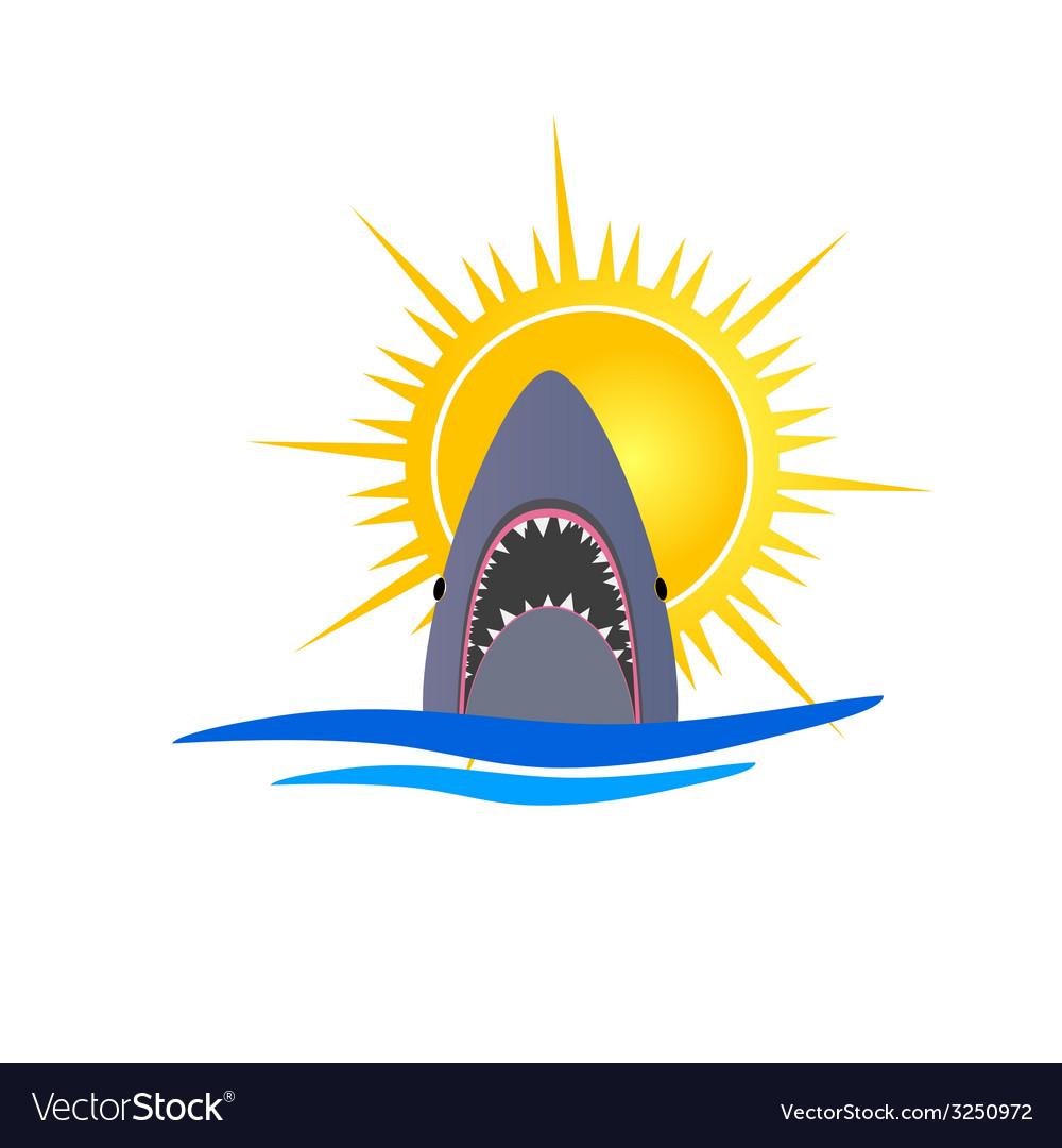 Shark and sun vector | Price: 1 Credit (USD $1)