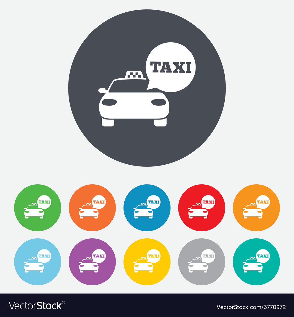 Taxi car sign icon public transport symbol vector | Price: 1 Credit (USD $1)