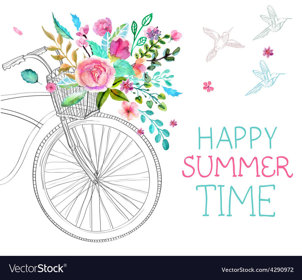 Watercolor flowers and bicycle vector