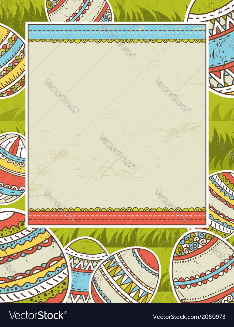 Background with easter eggs and label for text vector | Price: 1 Credit (USD $1)