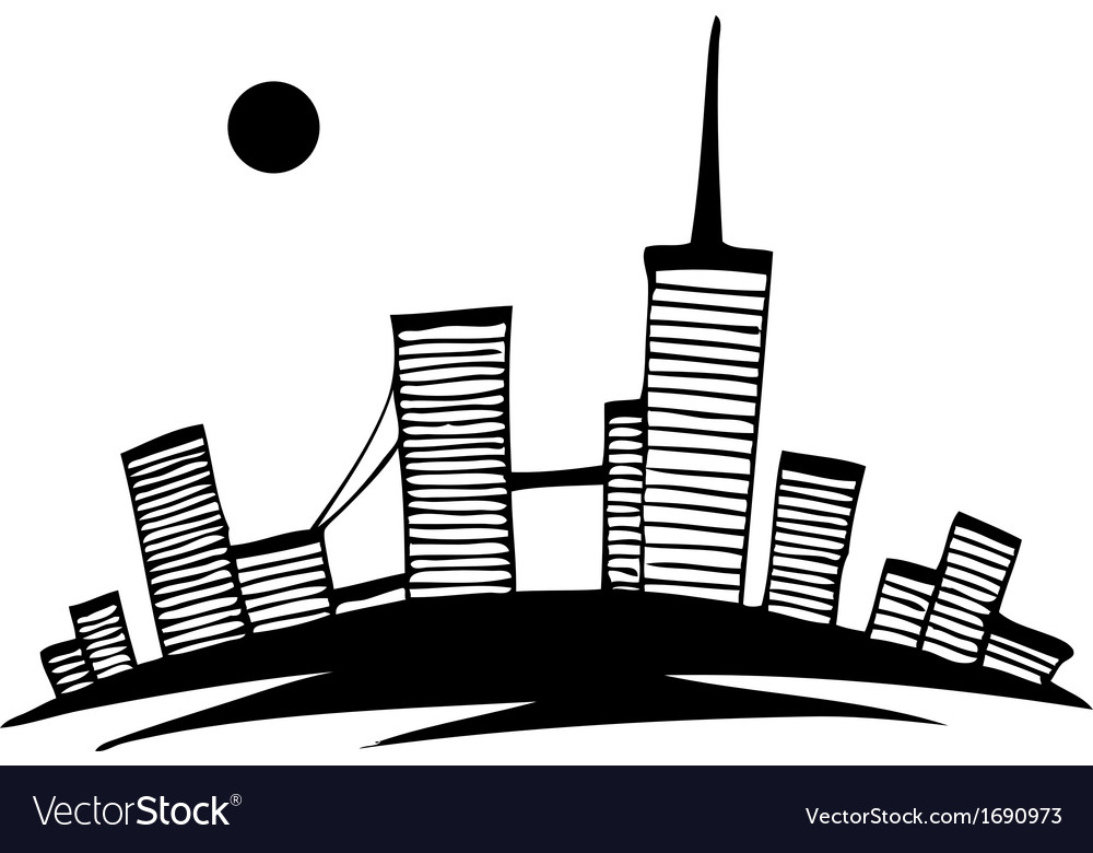 Black and white silhouette of city simple drawing vector | Price: 1 Credit (USD $1)