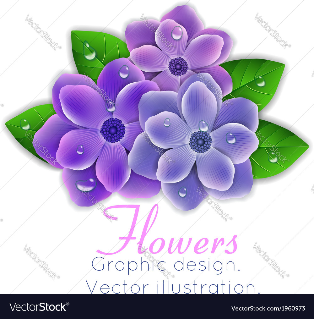 Blue and purple flowers with leaves vector | Price: 1 Credit (USD $1)