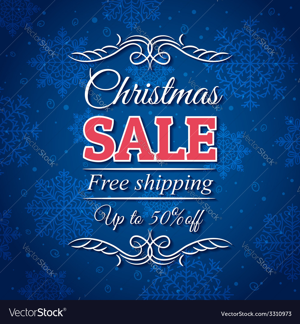 Blue christmas background and sale offer vector | Price: 1 Credit (USD $1)