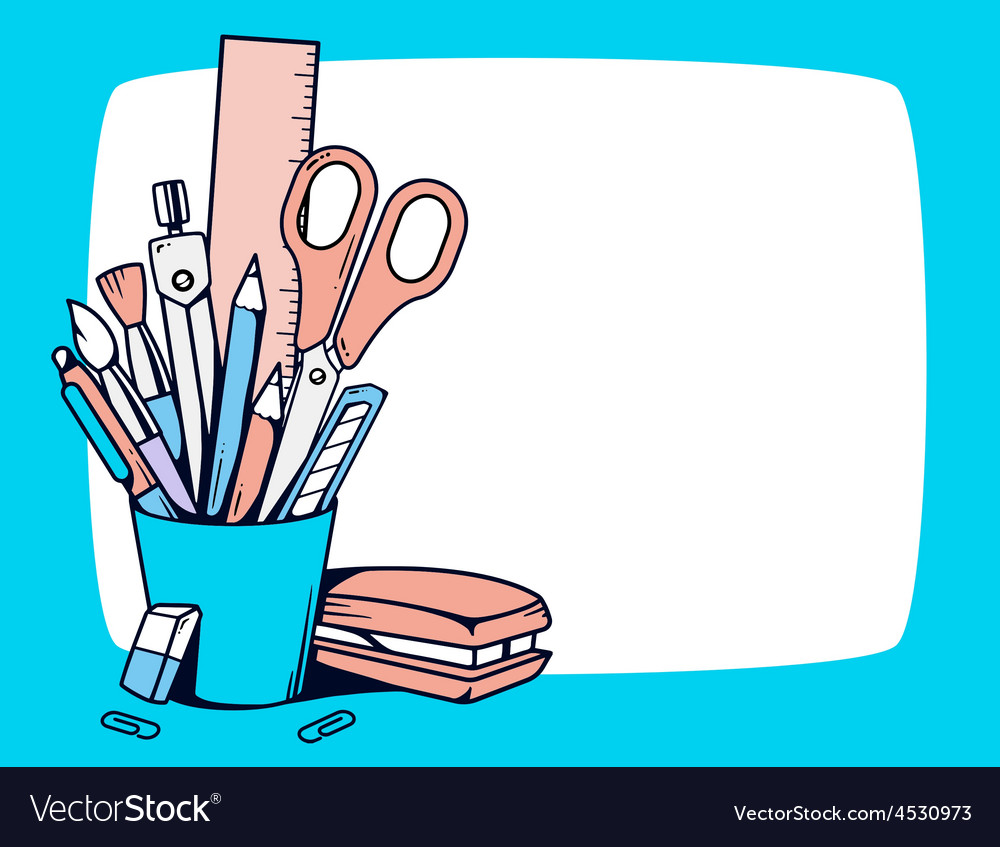 Blue holder with stationery set in frame vector | Price: 1 Credit (USD $1)