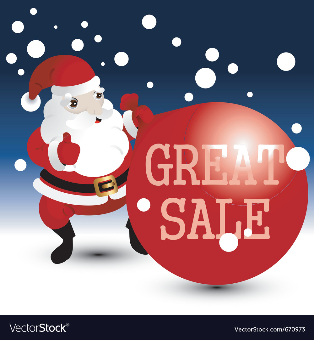 Christmas sale card with santa vector | Price: 1 Credit (USD $1)