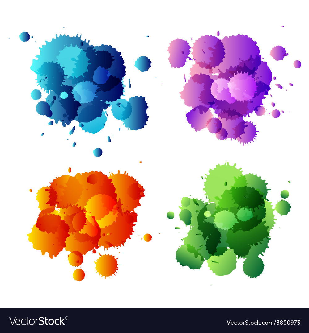 Collection of colorful abstract paint splash vector | Price: 1 Credit (USD $1)