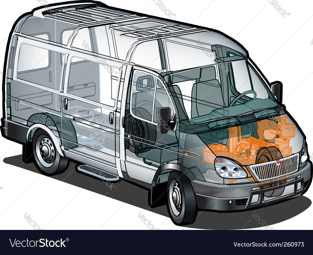 Delivery cargo van cutaway vector | Price: 3 Credit (USD $3)