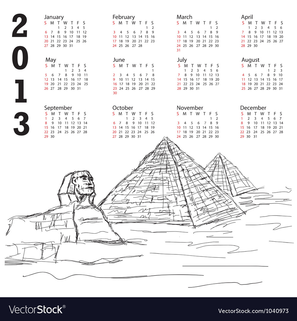 Egypt pyramid 2013 calendar vector   Price: 1 Credit (USD $1)