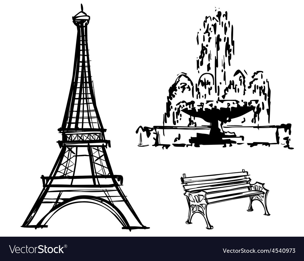 Eiffel tower fountain bench drawn in pencil vector | Price: 1 Credit (USD $1)