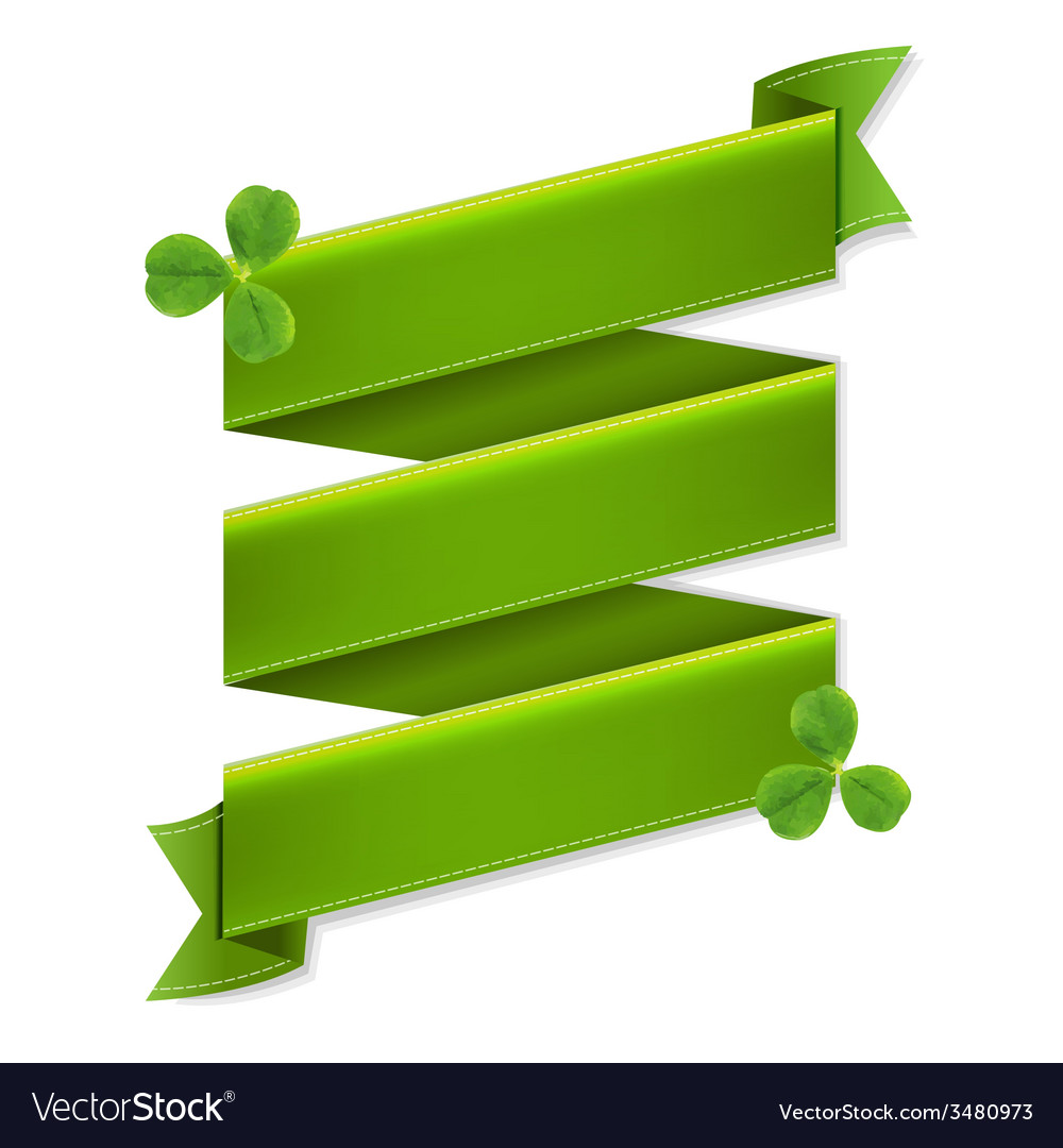 Green ribbon banner with leaves vector | Price: 1 Credit (USD $1)