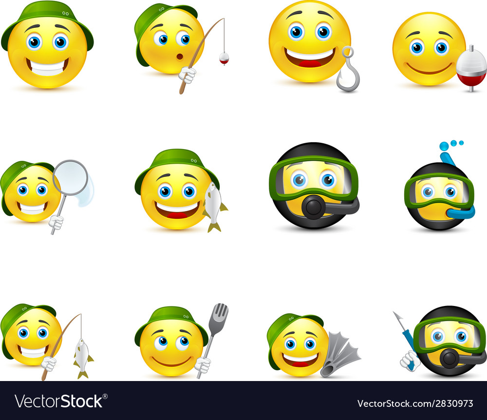 Interesting set of smiles on fishing underwater vector | Price: 1 Credit (USD $1)