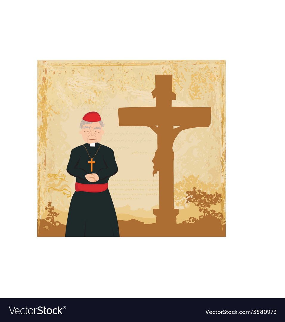 Priest prays by the cross grunge background vector | Price: 1 Credit (USD $1)
