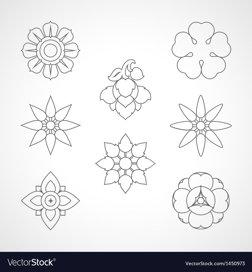 Set thai flower symbol vector | Price: 1 Credit (USD $1)
