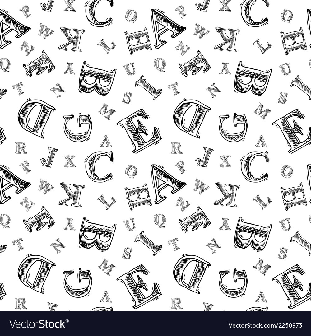 Sketch alphabet seamless pattern vector | Price: 1 Credit (USD $1)