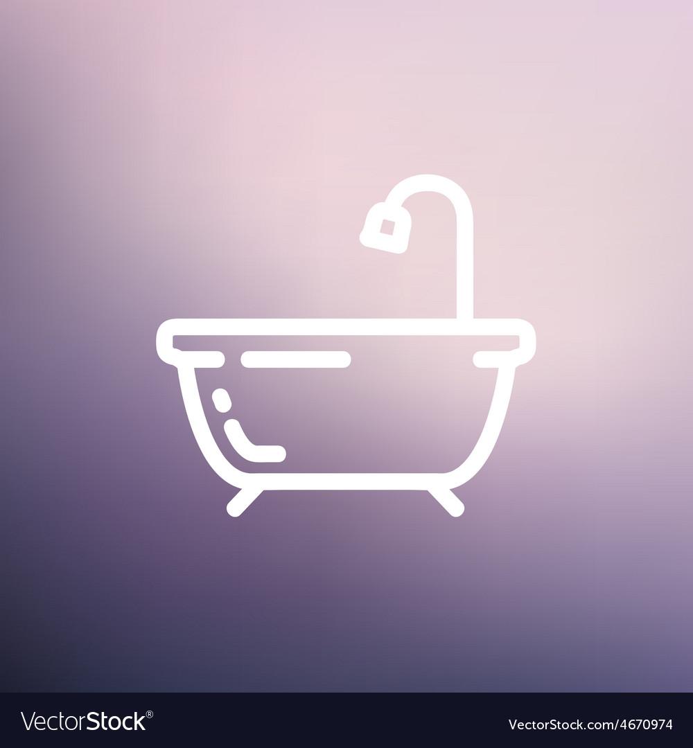 Bathtub thin line icon vector   Price: 1 Credit (USD $1)