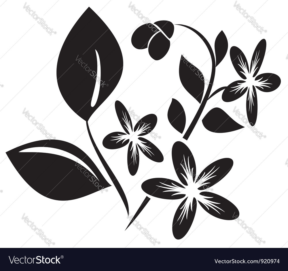 Black element for design with flora vector | Price: 1 Credit (USD $1)