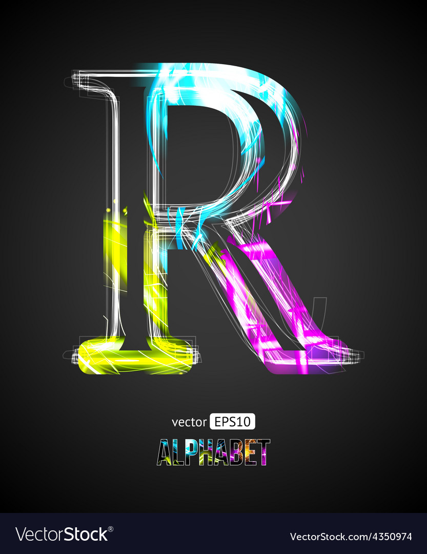 Design light effect alphabet letter r vector | Price: 1 Credit (USD $1)
