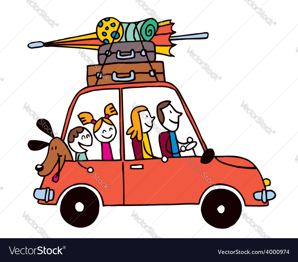 Family of four vacation car with luggage travel vector | Price: 1 Credit (USD $1)