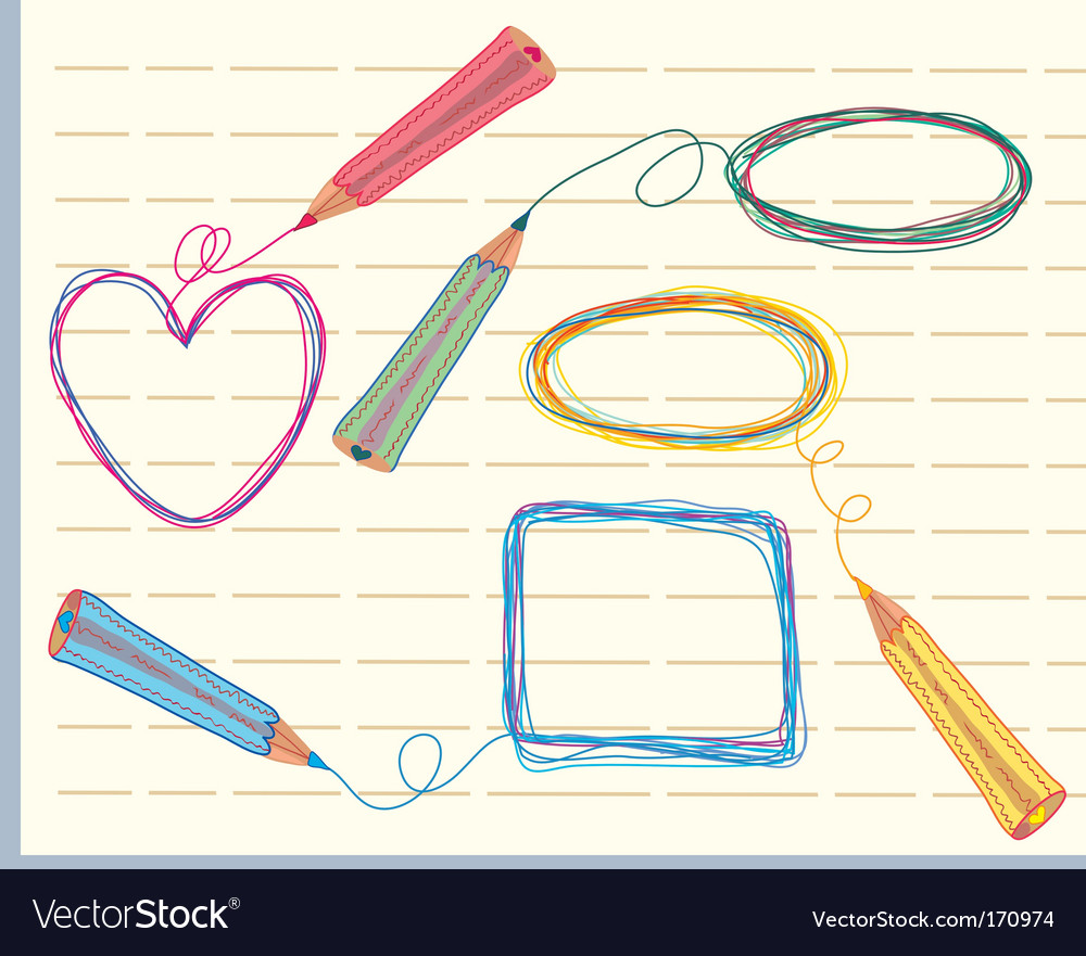 Frames and pencils vector | Price: 1 Credit (USD $1)