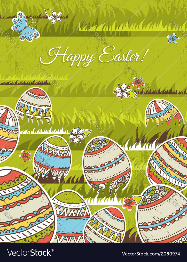 Green background with easter eggs vector   Price: 1 Credit (USD $1)