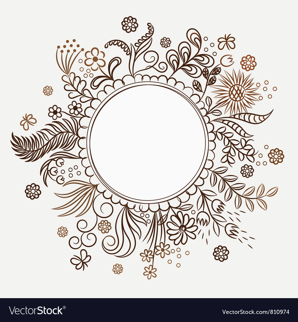 Hand drawn flower frame vector | Price: 1 Credit (USD $1)