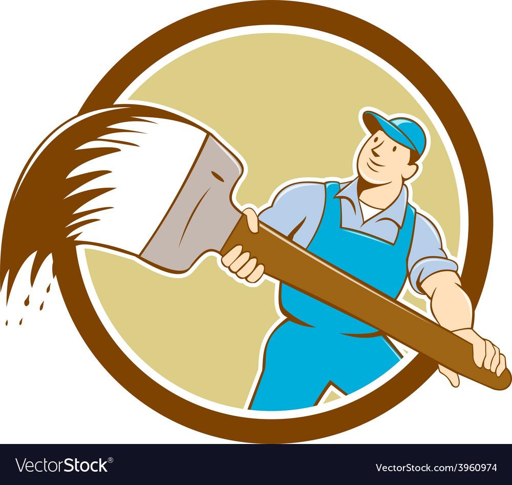 House painter giant paintbrush cartoon vector | Price: 1 Credit (USD $1)