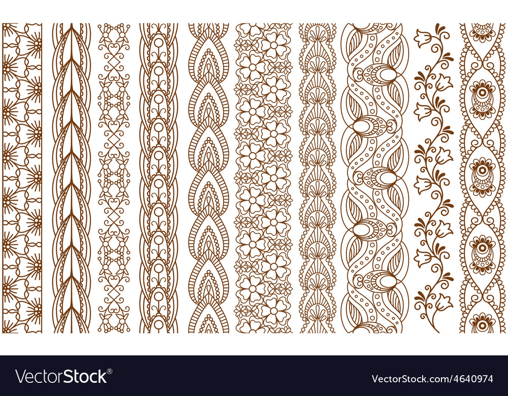 Indian henna seamless borders vector   Price: 1 Credit (USD $1)