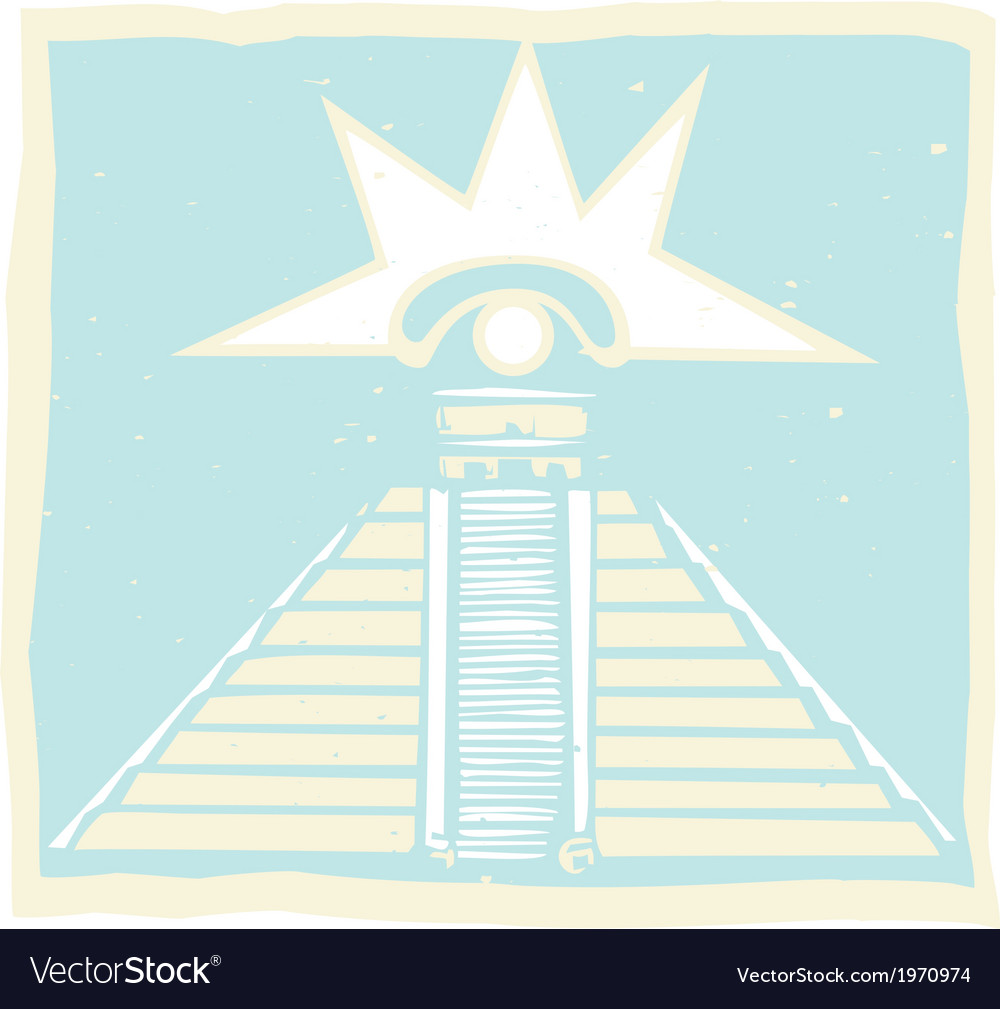 Mayan pyramid with venus eye glyph vector | Price: 1 Credit (USD $1)