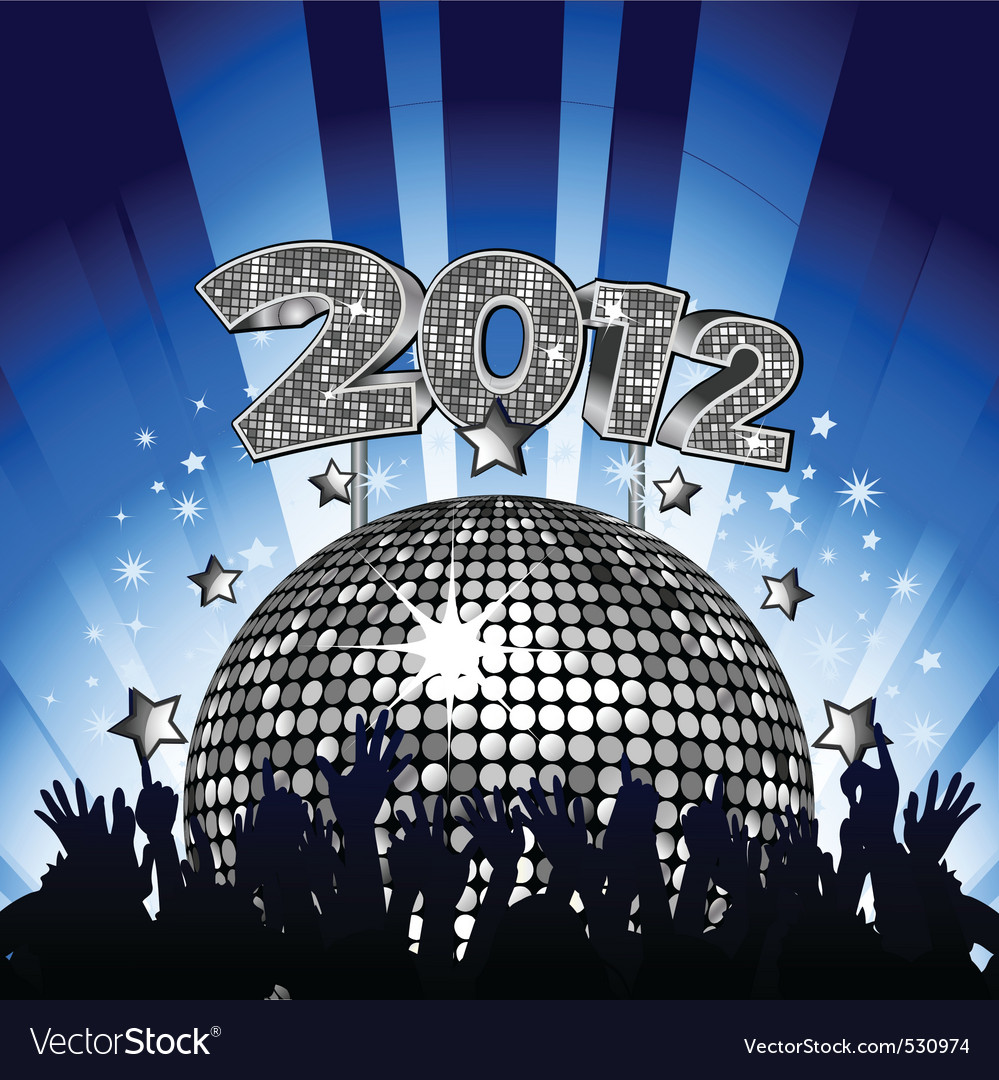 New year party with crowd dancing in front of silv vector   Price: 1 Credit (USD $1)