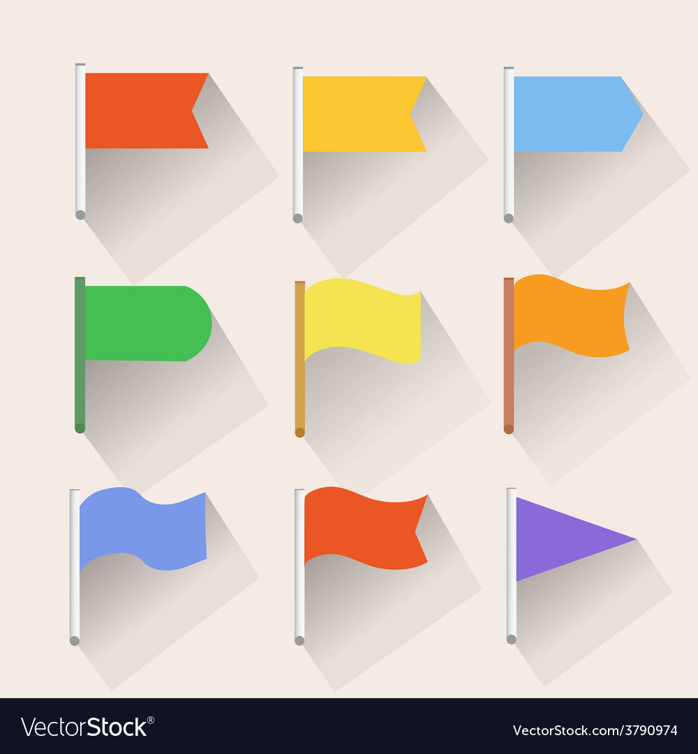 Set of flag icons flat style vector | Price: 1 Credit (USD $1)