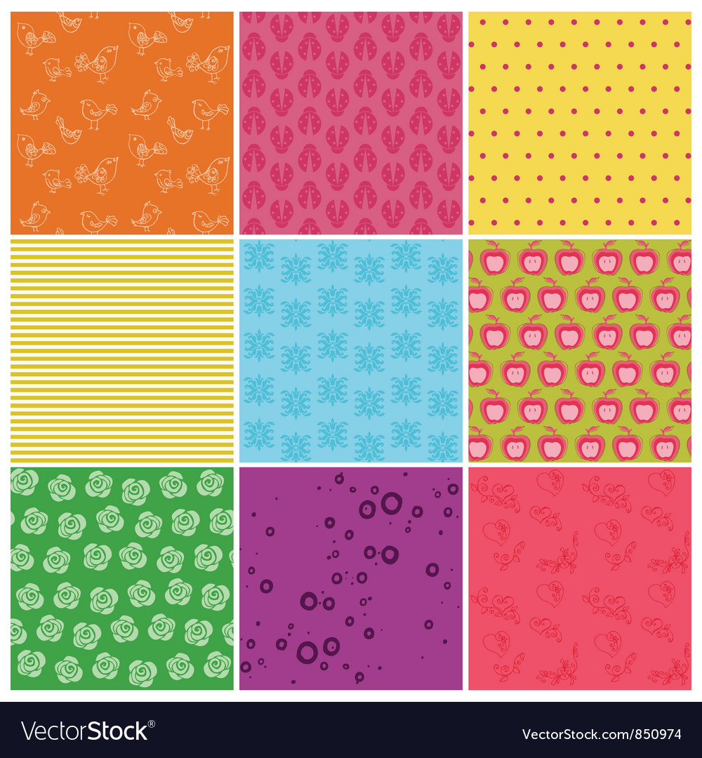 Set of seamless backgrounds vector   Price: 1 Credit (USD $1)