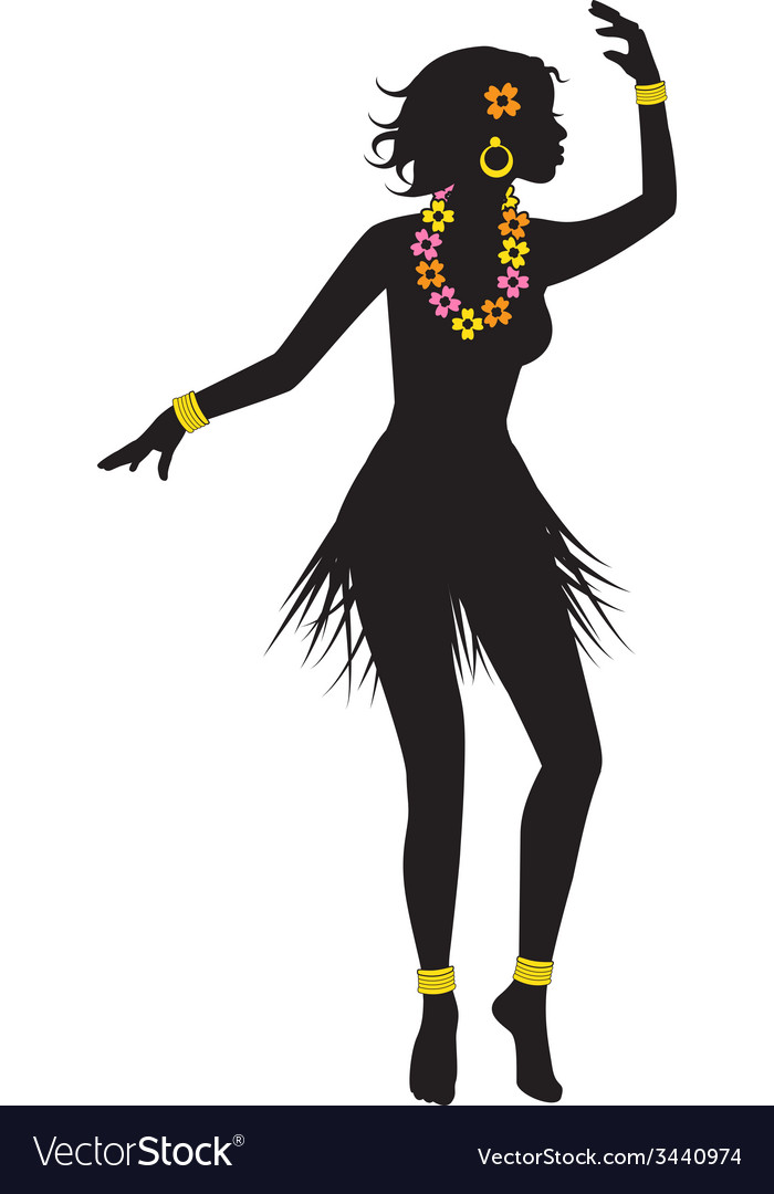 Silhouette of dancing hawaiian with beads vector | Price: 1 Credit (USD $1)